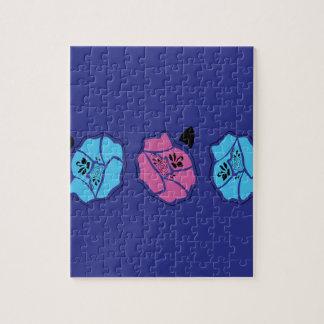 Hand drawn Roses creative on Deep blue Jigsaw Puzzle