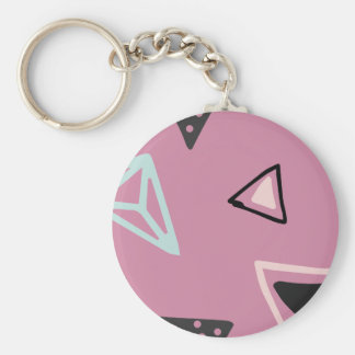 Hand Drawn Shapes Pattern (Customizeable Color!) Basic Round Button Keychain