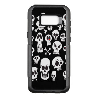 Hand Drawn Skulls on Black OtterBox Commuter Samsung Galaxy S8+ Case
