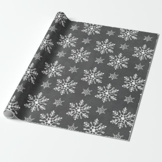 Hand Drawn Snowflakes Chalkboard Holiday Wrapping Paper
