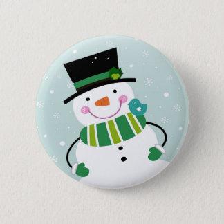 Hand-drawn Snowman green white 2 Inch Round Button