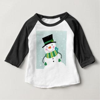 Hand-drawn Snowman green white Baby T-Shirt