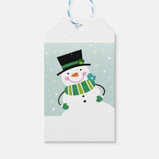 Hand-drawn Snowman green white Pack Of Gift Tags