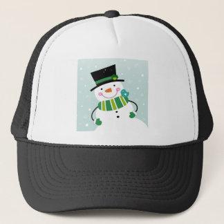 Hand-drawn Snowman green white Trucker Hat