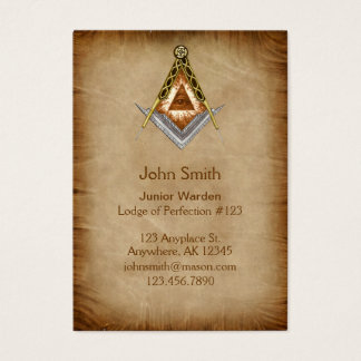 Hand Drawn Square and Compass With All Seeing Eye Business Card