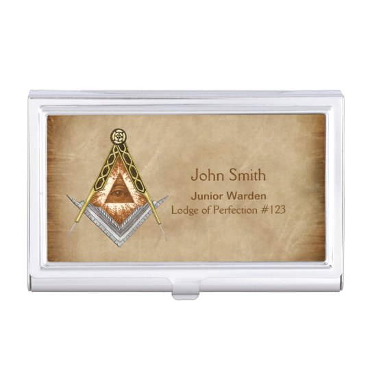 Hand Drawn Square and Compass With All Seeing Eye Business Card Holders