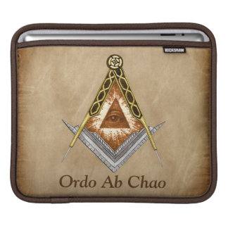 Hand Drawn Square and Compass With All Seeing Eye iPad Sleeve