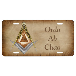 Hand Drawn Square and Compass With All Seeing Eye License Plate
