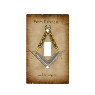 Hand Drawn Square and Compass With All Seeing Eye Light Switch Cover