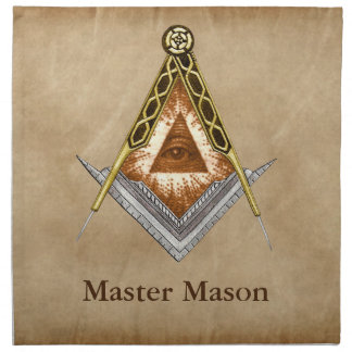 Hand Drawn Square and Compass With All Seeing Eye Napkin