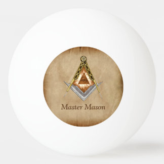 Hand Drawn Square and Compass With All Seeing Eye Ping Pong Ball