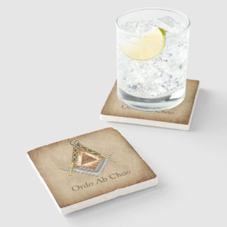 Hand Drawn Square and Compass With All Seeing Eye Stone Coaster