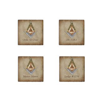 Hand Drawn Square and Compass With All Seeing Eye Stone Magnets