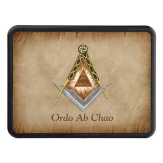 Hand Drawn Square and Compass With All Seeing Eye Trailer Hitch Cover