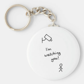"Hand drawn stick man ""I'm watching you"" keychain"