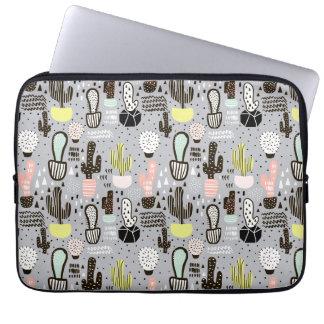 Hand Drawn Textured Cactus Pattern Laptop Sleeve