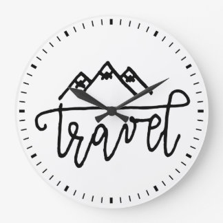 Hand Drawn Travel Text Large Clock