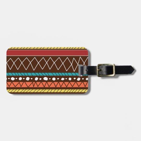 Hand Drawn Tribal Pattern Luggage Tag