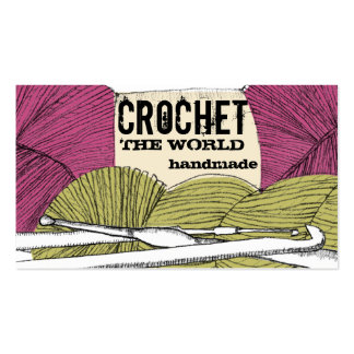 Hand drawn twisted yarn hank skein crochet hooks business cards