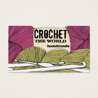 Hand drawn twisted yarn hank skein crochet hooks business card