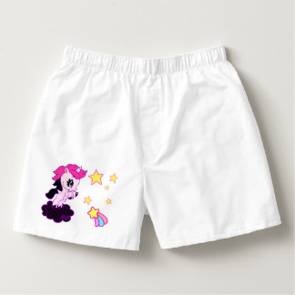 Hand Drawn Unicorn Unisex Sleepwear Shorts 2 Sides Boxers
