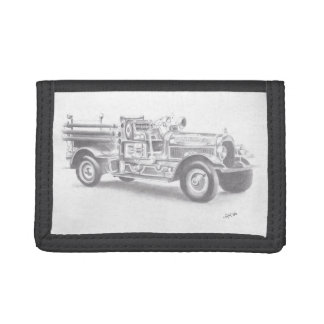 hand drawn unique vintage fire truck trifold wallets