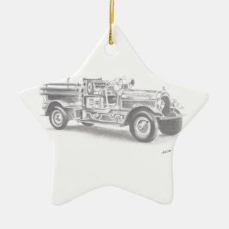 hand drawn vintage fire truck sketch ceramic ornament