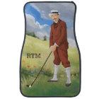 Hand drawn vintage golfer in the rough car mat