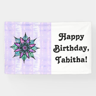 Hand Drawn Watercolor Flower on Purple Tie Dye Banner