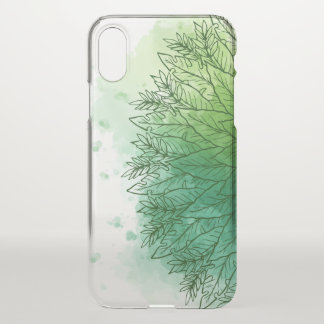 Hand Drawn Watercolor Green Leaves | iPhone X Case