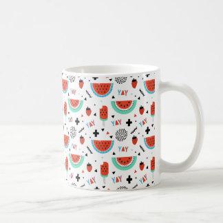 Hand Drawn Watermelon Summer Classic White Coffee Mug