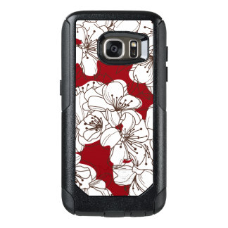Hand Drawn White Apple Blossom Flowers on Red OtterBox Samsung Galaxy S7 Case