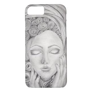 Hand Drawn Woman's Visage B&W, Iphone 7, Tough iPhone 7 Case