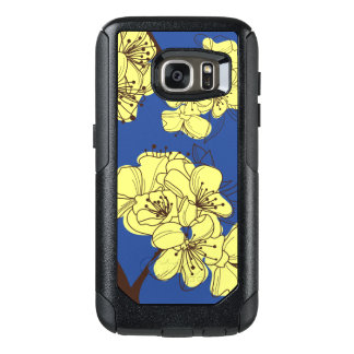 Hand Drawn Yellow Wild Flowers on Blue OtterBox Samsung Galaxy S7 Case