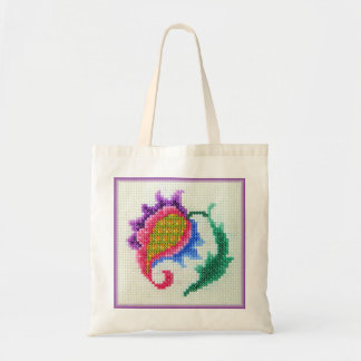 Hand embroidered bright flower 2 budget tote bag