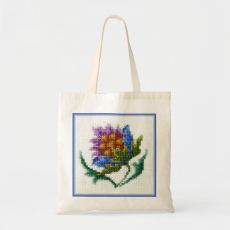 Hand embroidered bright flower budget tote bag