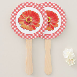 Hand Fans - Red Zinnia and Lattice
