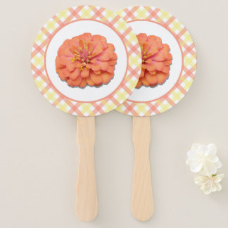 Hand Fans - Tequila Sunrise Zinnia and Lattice