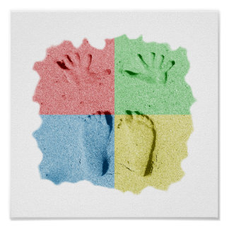 Hand Feet Prints in sand four color.png Print