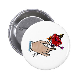 Hand // Flowers Badge. 2 Inch Round Button