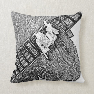 Hand fretting guitar bw sketch throw pillow