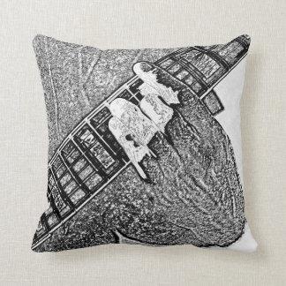 Hand fretting guitar bw sketch throw pillow