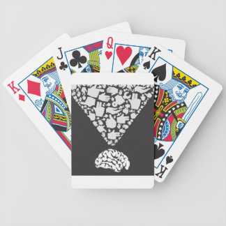 Hand from brain bicycle playing cards