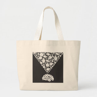 Hand from brain large tote bag