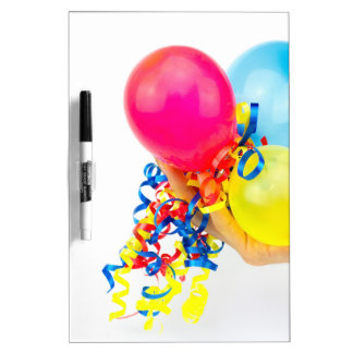 Hand giving colorful balloons with ribbons dry erase board