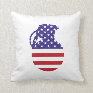 Hand Grenade American Flag Throw Pillow