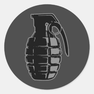 Hand Grenade - gray Classic Round Sticker