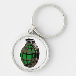 Hand Grenade Silver-Colored Round Keychain