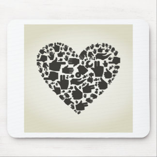 Hand heart mouse pad