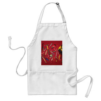 Hand held tools and tool bag red background standard apron